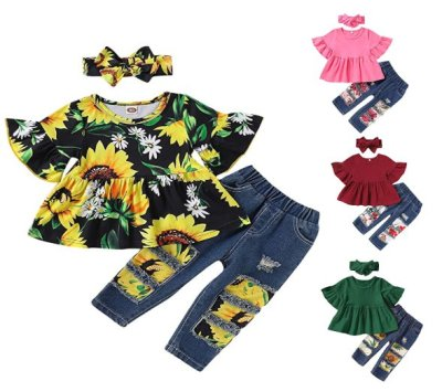 Amazon: Toddler Girls Clothes – Ruffle Sleeve T-Shirt+Ripped Jeans & Headband for $10.99 (Reg. Price $21.99)