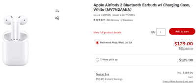 AirPods 2 W/Charging Case $129!!
