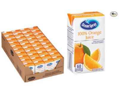 Amazon: 40 Pack 4.2Fl.oz Ocean Spray 100% Orange Juice for $12.20