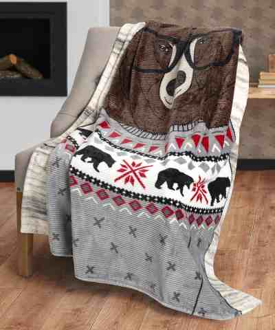 Zulily: Bear Ribbed Flannel Throw ONLY $10.99 (Reg $20)
