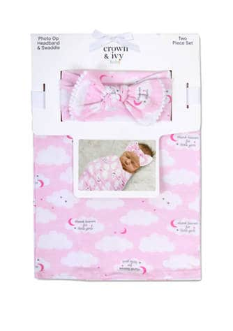 Belk: Crown & Ivy Baby Girls Thanks Heavens Swaddle and Headband ONLY $5 (Reg $30)