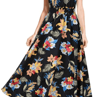 Amazon : Boho V Neck Vintage Print Floral Maxi Beach Long Dress Just $16.99 W/Code (Reg : $33.98)