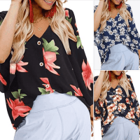 Amazon : V Neck Loose Floral Print Top Just $5.40 W/Code (Reg : $26.99)