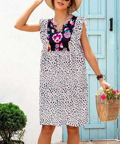 Zulily: Pink Floral Leopard Flutter-Sleeve Shift Dress - Women Just $19.99 (Reg $35)