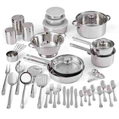 Walmart: Mainstays Stainless Steel 52-Piece Cookware Set, Tools & Flatware For $59.99