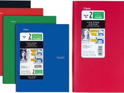 Five Star 2 Pocket Folders 4-Pack with Prong Fasteners ONLY $6.64 + FREE Shipping