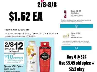 Olay And Oldspice Bath Care $1.62 Each+Tax