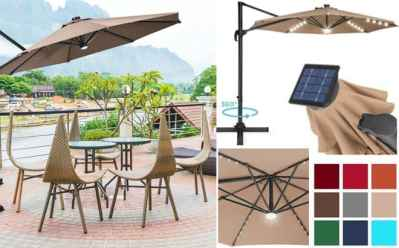 BCP: Solar LED Cantilever Offset Patio Umbrella Only $159.99 + FREE Shipping (Reg $291)