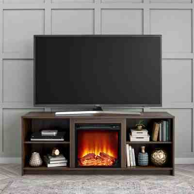 """Walmart: Mainstays Fireplace TV Stand for TVs up to 65"""", Walnut For $199.99"""