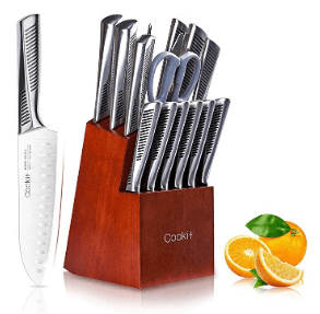 Amazon: Cookit Knife Sets, 15 Piece Kitchen Knives Set with Block - LIGHTNING DEAL + coupon