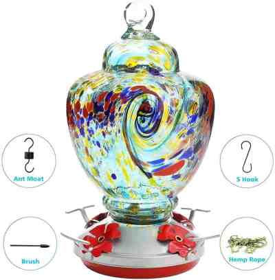 Amazon: Hummingbird Feeder, Bird Feeder with Color Hand Blown Glass for ONLY $21.24 (Reg. $40)