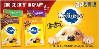 Amazon: 24 Pouches Pedigree Choice Cuts in Gravy Adult Wet Dog Food Variety Packs for $6.79
