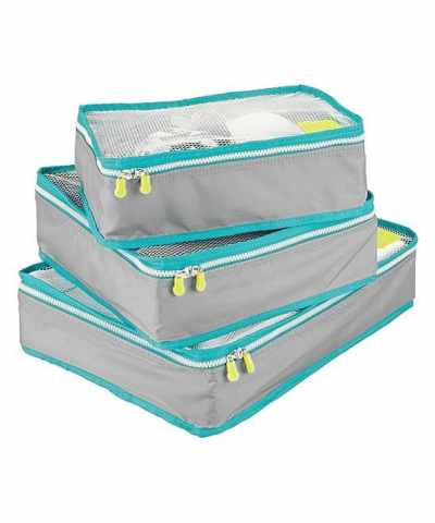 Zulily: Gray & Teal Packing Cubes - Set of Three Now $5.99 (Reg $25.99)