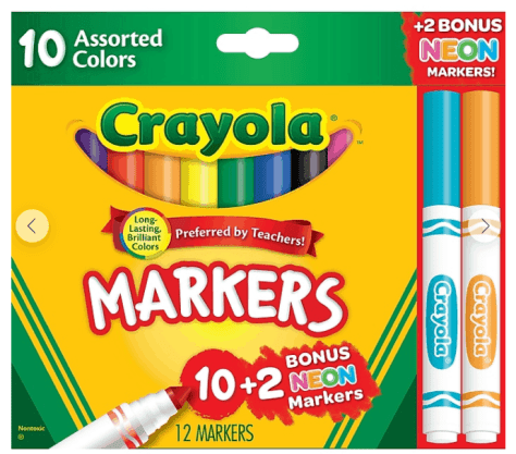 Staples: Crayola Markers Assorted Colors Bonus Pack 12/Box 58-7750 for $0.97 + Free Shipping! (Reg.$4.49)