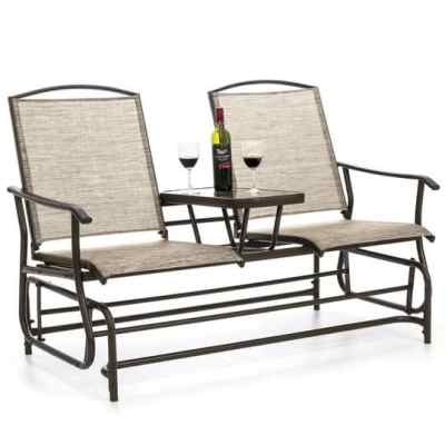 BCP: 2-Person Outdoor Mesh Double Glider w/ Tempered Glass Table $129.99 (Reg $199.99)