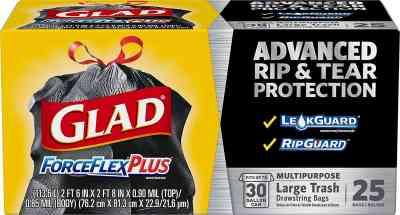 Amazon: Glad ForceFlexPlus Black Large Drawstring Trash Bags, Buy 2 save 5, for $11.16 (Reg. Price $16.16)