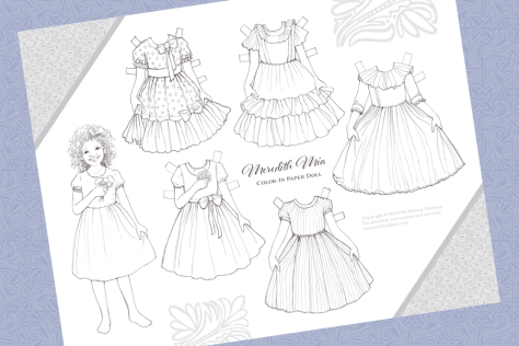 Free Printable Color-In Paper Doll with Dresses!