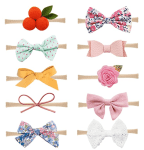 Amazon: 10 Pack Baby Girl Headbands and Bows Nylon Hairbands Hair Bow Accessories for $5.49 - After Code