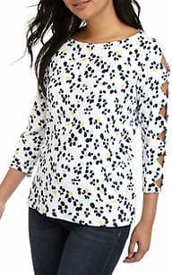 Belk: Deal Of The Day: Kim Rogers® Petite Scallop Sleeve Printed Top For $7.40 (Reg. $40) + Store Pickup.
