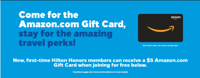 Freebie!$5 Amazon Gift-card when you become a free Hilton Honors Member! Allow 6-8 weeks to receive it.