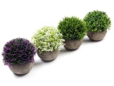 Amazon: 4 Pcs Artificial Plastic Mini Plants Topiary Shrubs Fake Plants for $10.99 (Reg. Price $21.99) after code!