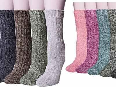Amazon: 5 Pairs Women's Wool Socks, Winter Warm Thick Knit $7.99 ($26)