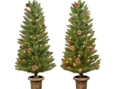 Home Depot: Home Accents Holiday 4 ft Montclair Spruce Pre-lit Potted Artificial Christmas Trees with 70 White Mini Lights (Set of 2) For 49.98/Set
