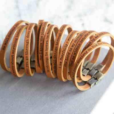 JANE: Scripture Skinny Leather Bracelets For $11.99 At Reg.$24.00