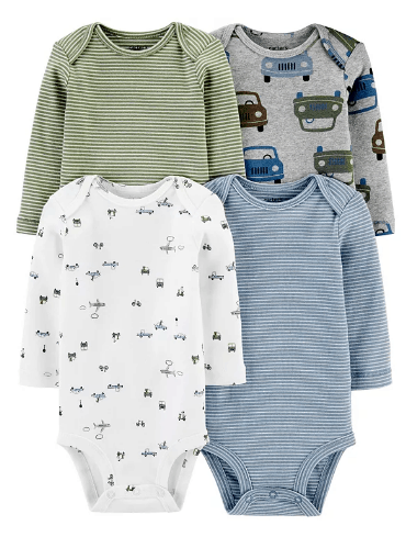Macy's: Carter's Baby Boys 4-Pk. Printed Long-Sleeve Cotton Bodysuits only $11.20 Free Store Pickup! (Reg. $28.00)