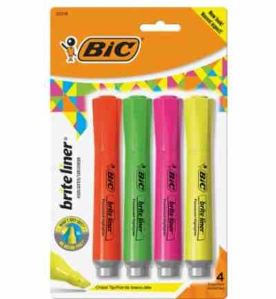Amazon: Pack of 4 BIC Brite Liner Highlighter with Rubber Grip, Chisel Tip for $3.55 (Reg. Price $4.40)