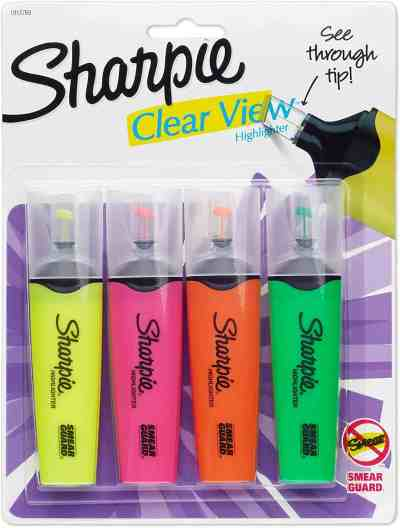 Amazon: Sharpie Clear View Highlighters, Chisel Tip, Assorted Colors, 4-Count, Just $5.94 (Reg $7.42)