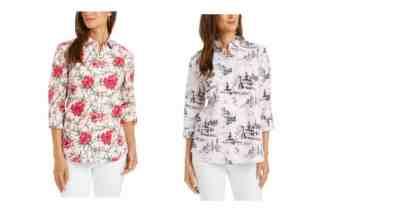 Macy's: Charter Club Linen-Blend Printed Tab-Sleeve Shirt $10.96 ($69.50)