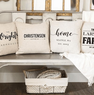 Jane: Personalized Farmhouse Pillow Covers just $9.99 shipped!