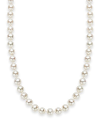 "Macy's: 18"" Cultured Freshwater Pearl Strand Necklace (7-8mm) in Sterling Silver For $29.00 Reg.$200"