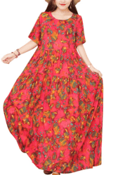 Amazon: Bohemian Short Sleeve Floral Dress Long Maxi for only $13.49 - $13.99 (Reg: $27.99)