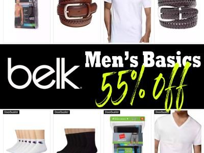 Belk: Men's Basic Items, 55% off! Limited Time Only!