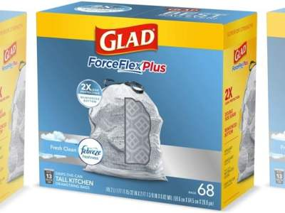 Staples: Glad 13-Gallon Trash Bags 68-Count $9.99 (Reg $18)