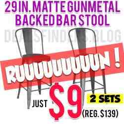 Home Depot: 29 in. Matte Gunmetal  Backed Bar Stool, Just $9 (Reg. $139)