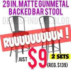 Home Depot: 29 in. Matte Gunmetal  Backed Bar Stool, Just $9 (Reg. $139)