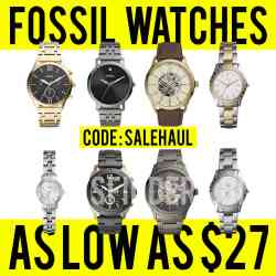 Fossil: Women's & Men's Watches, for as low as $27 after code!