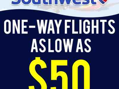 Southwest Airlines: One-Way Flights As Low As $50!