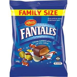Allens Fantales Chewy Chocolate Caramel Lollies Bag 340g