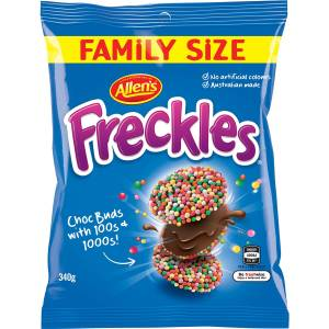 Allens Freckles Chocoloate 100's and 1000's Lollies Bag 340g