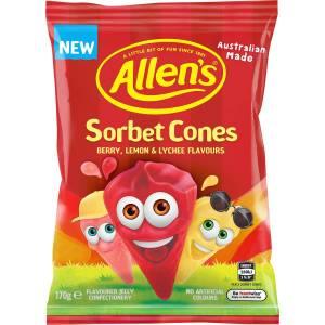 Allens Sorbet Cones Lollies Bag 170g