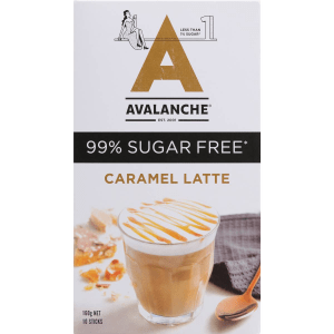 Avalanche 99% Sugar Free Coffee Caramel Latte Sachets 10 Pack