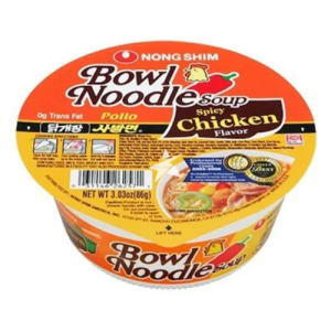 Nongshim Bowl Spicy Instant Noodles Soup Spicy Chicken Flavour 86g X 12 Cups