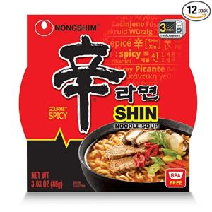 Nongshim Shin Ramyun Bowl Gourmet Spicy Instant Noodles Soup 86g X 12 Cups