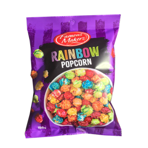 Famous Makers Classic Multi Coloured Rainbow Popcorn Chips Bag 150g X 12 Bags