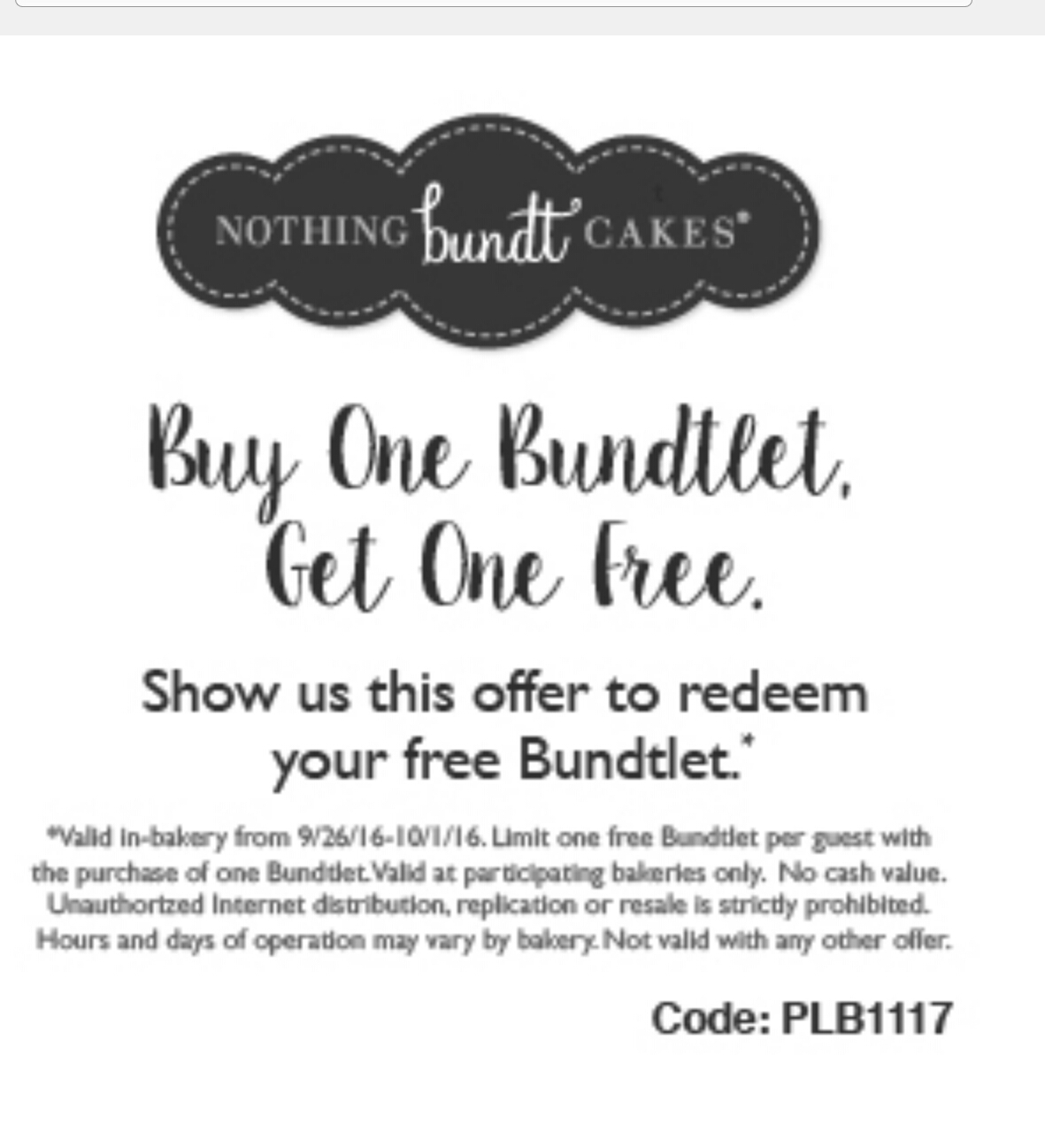 Nothing Bundt Cakes Coupons Printable