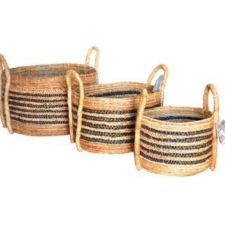 Banana Leaf Round Log Baskets